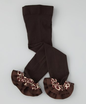 Brown Giraffe Ribbon Leggings - Girls