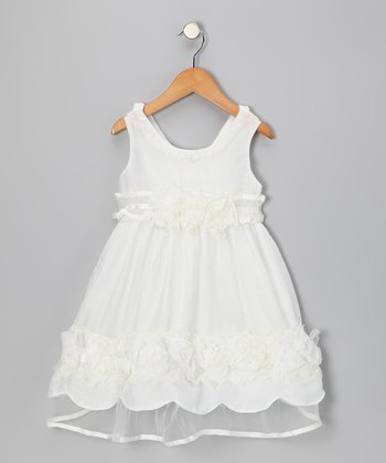 White Pearl Lace Dress - Girls