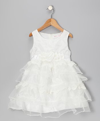 White Rosette Lace Dress - Girls