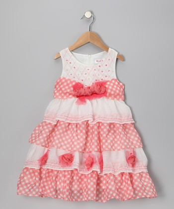 Peach Sequin Ruffle Dress - Girls