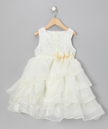 White Lace Ruffle Dress - Girls
