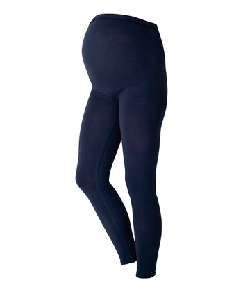 Ink Blue Over-Belly Maternity Leggings
