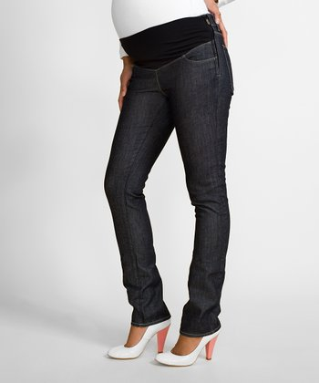 Raw Blue Susan Mid-Belly Maternity Straight-Leg Jeans