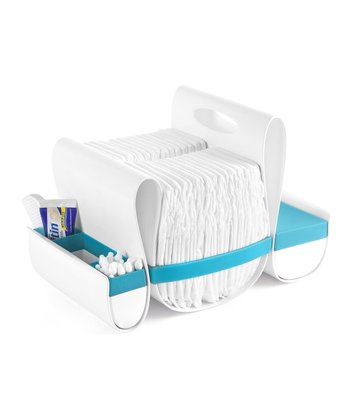 White & Blue Loop Diaper Caddy