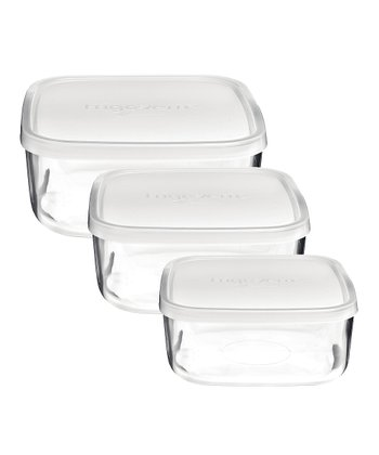Frosted Frigoverre Square Storage - Set of Three