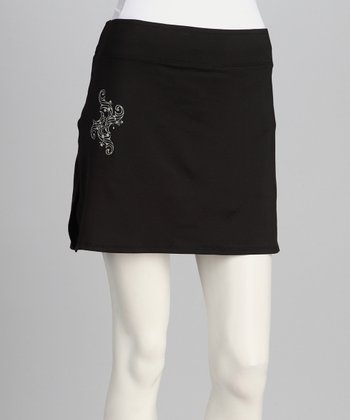 Black & Silver Sassy Oxford Maternity Skort - Women