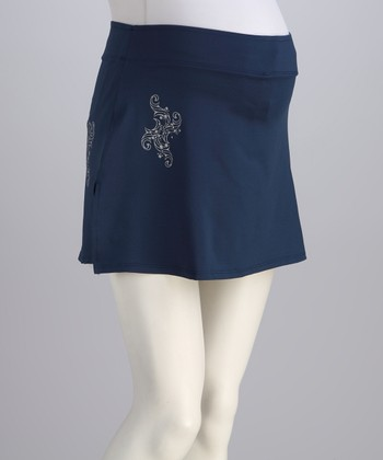 Navy & Silver Oxford Maternity Skort - Women