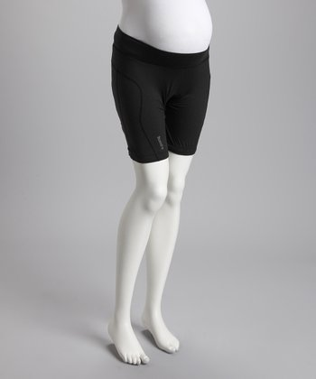 Black Lucille Under-Belly Maternity Bike Shorts - Women