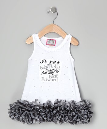 White & Gray 'Baby Bella' Ruffle Dress - Infant, Toddler & Girls