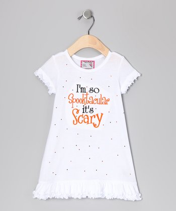 White 'Spooktacular' Cap-Sleeve Dress - Infant, Toddler & Girls