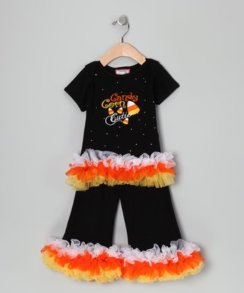 Black 'Candy Corn' Ruffle Tee & Pants - Toddler & Girls