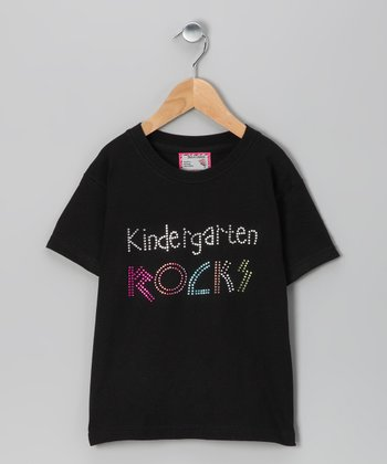 Black 'Kindergarten Rocks' Tee - Toddler & Girls