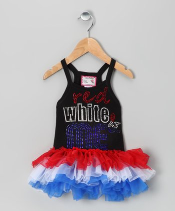 Black 'Red White & Me' Tutu Tunic - Toddler & Girls
