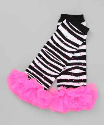Zebra & Hot Pink Bling Ruffle Leg Warmers