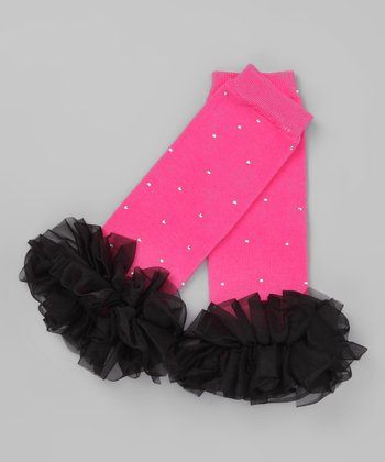 Pink & Black Bling Ruffle Leg Warmers