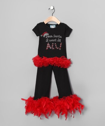 Black 'Dear Santa' Tee & Pants - Infant, Toddler & Girls