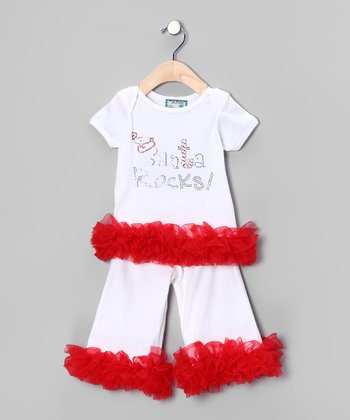 White 'Santa Rocks!' Tee & Pants - Infant, Toddler & Girls