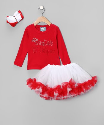 Red 'Santa's Lil' Helper' Tutu Set - Infant, Toddler & Girls