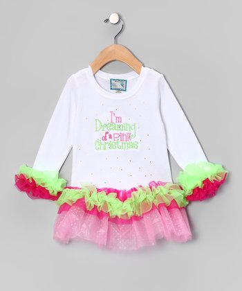 White 'Pink Christmas' Tutu Dress - Infant, Toddler & Girls