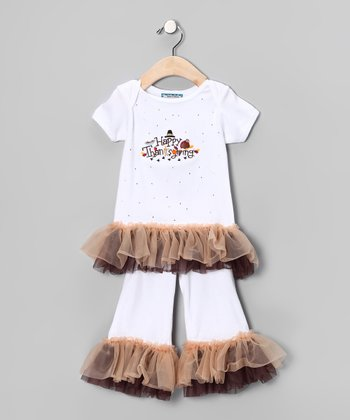 White 'Thanksgiving' Tee & Pants - Infant, Toddler & Girls