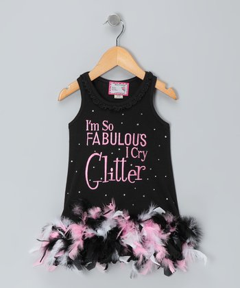 Black 'Fabulous' Feather Dress - Infant, Toddler & Girls