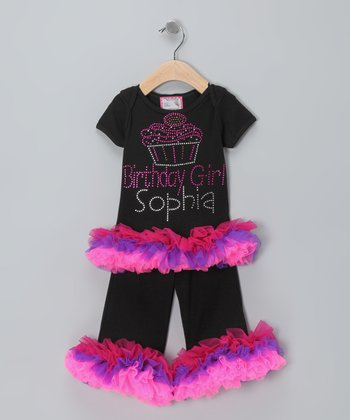 Born 4 Couture Black 'Birthday Girl' Personalized Tee & Pants