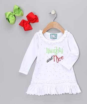 White 'Naughty' Ruffle Dress & Bow Clip - Infant, Toddler & Girls