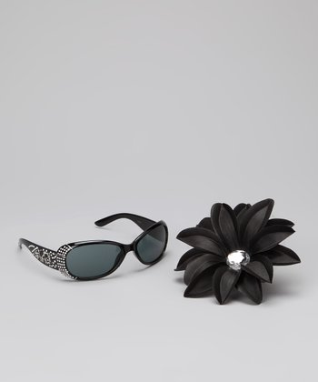 Born Posh Black Rhinestone Sunglasses & Flower Clip