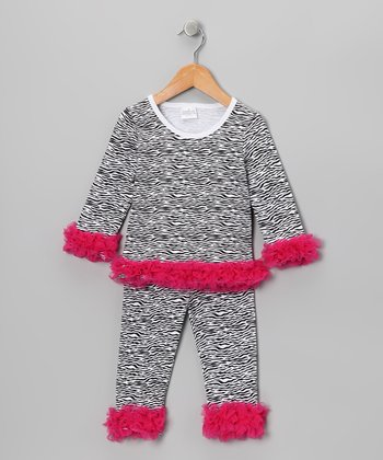 Hot Pink Zebra Ruffle Tunic & Leggings - Infant, Toddler & Girls