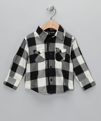 Black & White Gingham Button-Up - Toddler & Boys