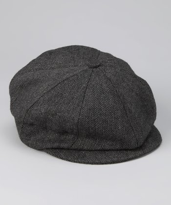 Gray Textured Newsboy Cap