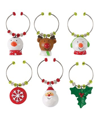 Holly Jolly Wine Charm Set