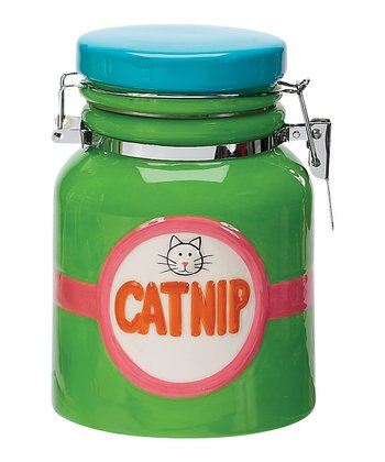 Green 'Catnip' Hinged Treat Jar