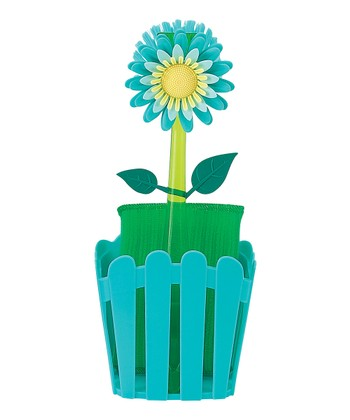 Blue Flower Garden Sponge Caddy Set