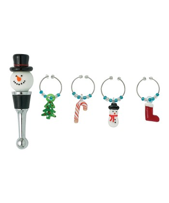 Boston Warehouse Sweater Snowman Wine Stopper Set