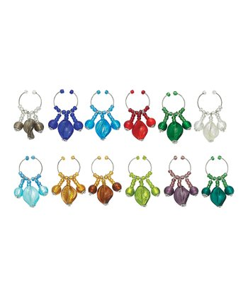 Colorful Spray Wine Charm Set