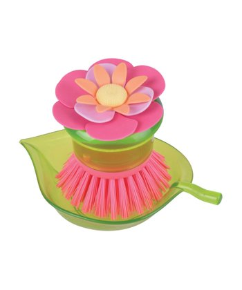 Pink Flower Garden Scrubber Brush & Holder