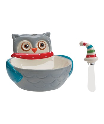Boston Warehouse Snowy Owls Dip Bowl & Spreader