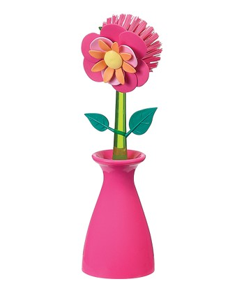 Pink Flower Garden Kitchen Brush & Holder