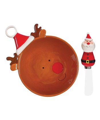 Boston Warehouse Holly Jolly Dip Bowl & Spreader