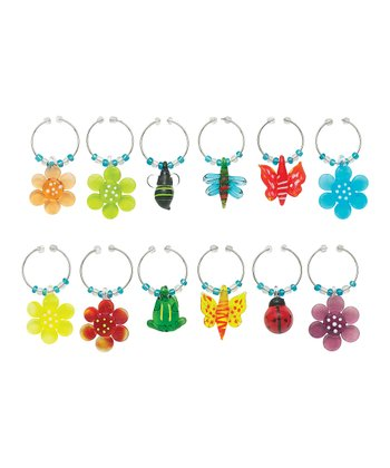 Flower Wine Charm Set