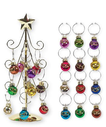 Boston Warehouse Scroll Ornament Wine Charm Tree Set