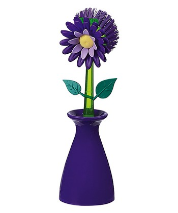 Plum Flower Garden Kitchen Brush & Holder