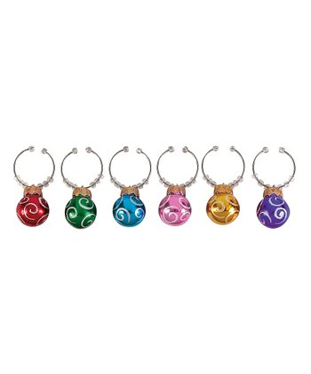 Scroll Ornament Wine Charm Set