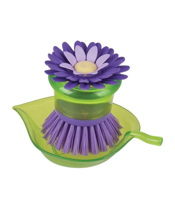 Plum Flower Garden Scrubber Brush & Holder