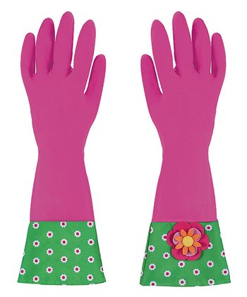 Pink Flower Garden Glamour Gloves