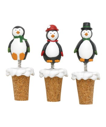 Boston Warehouse Penguin Party Bobble Bottle Stopper Set