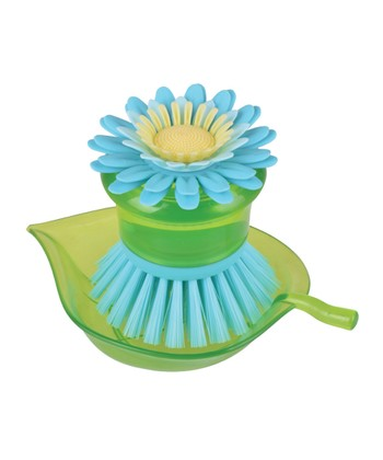Blue Flower Garden Scrubber Brush & Holder
