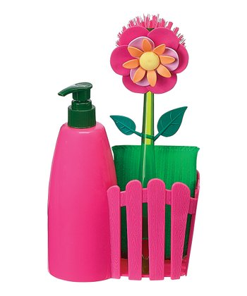 Pink Flower Garden Countertop Caddy Set