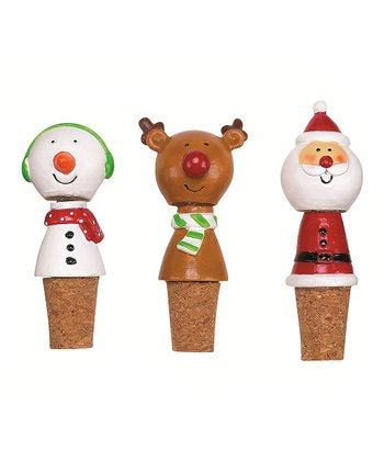 Boston Warehouse Holly Jolly Bobble Bottle Stopper Set